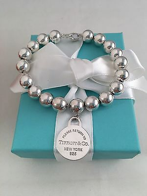 """Tiffany & Co Silver Bead Round Tag Bracelet 8"""". 10mm Beads. RARE, Retired"""