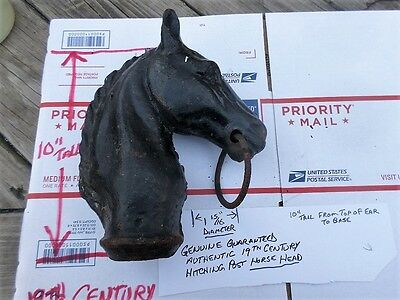 Grandpa's Antique 19th Century Horse Head Hitching Post Cast Iron Authentic