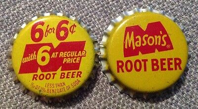 2 different MASONS ROOT BEER soda bottle caps unused cork