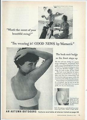 "1958 ""Good News B WARNER"" Bra and Pantie Vintage Print Ad"