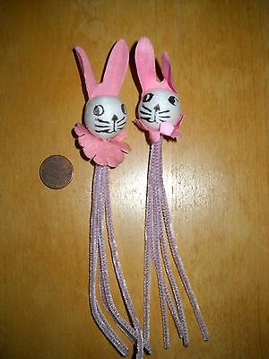 2 Vintage Spun Cotton Bunnies with Pink Ears and Collar