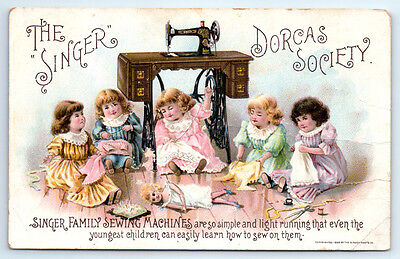 1800's Antique SINGER Sewing Machine DORCAS SOCIETY Trade Card / GIRLS WITH DOLL