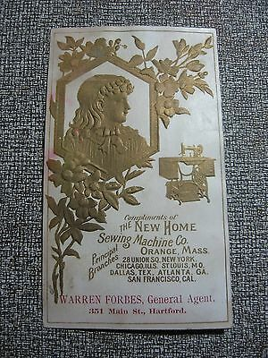 Victorian Trade Card New Home Sewing Machine Co Embossed