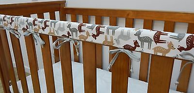 Baby Cot Crib Teething Rail Cover - Woodland Deer Grey - 100% Cotton **REDUCED**