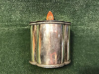 Exeter Silver plate over copper tea caddy wooden pineapple handle lid