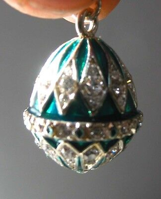 """Faberge inspired Russian Egg Pendant /Charm bejeweld Green Easter gift idea 7/8"""""""