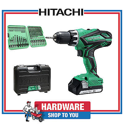 Hitachi 18V Cordless Driver Drill With Battery Charger Case + FREE 102 Bit Set