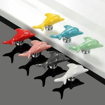 7 Colors Cute Dolphin Shape Ceramic Drawer Cabinet Knobs Handles Dresser Pulls