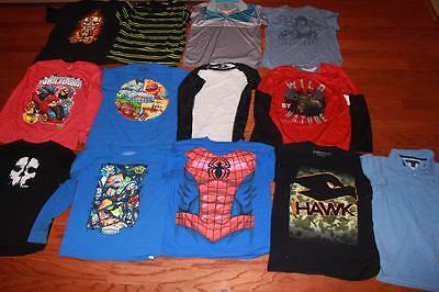 Lot 13 Youth Boys T Shirts Graphic Tees Rambo Skylanders Tony Hawk Spider-Man Xl