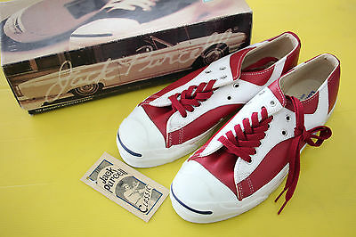 80S' VTG Converse Jack Purcell Rally Leather Red Sz9 Deadstock New with box USA