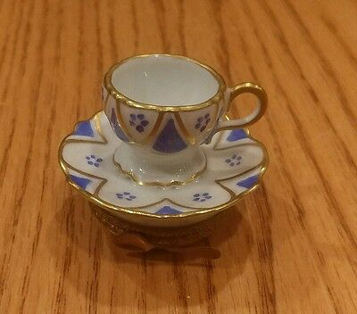 Limoges Hand Painted Hinged Trinket Box, Blue & White Cup Saucer Spoon D Moreau