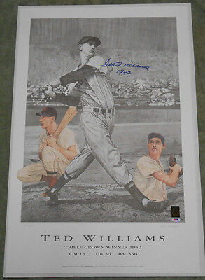 Ted Williams Signed Limited Edition Triple Crown Lithograph - PSA/DNA Letter!