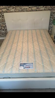 White Faux Leather King Size Bed With Mattress