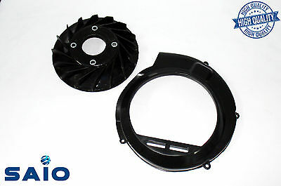 Saio Flywheel Fan + Fan Cover BLACK For Vespa VBB VBA Bajaj Chetak