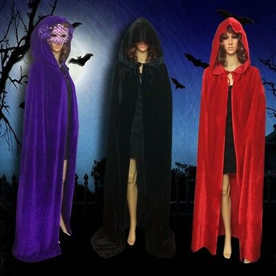 Gothic Hooded Velvet Cloak Robe Medieval Halloween Costume Witchcraft Cape Hot