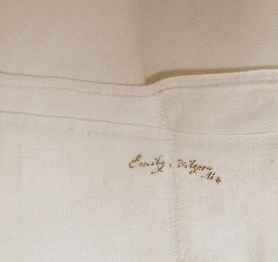 Antique c.1800's French metis linen bed sheet~signed by owner