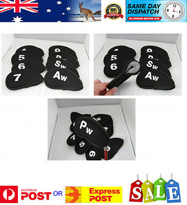 10 x Head Cover for all Irons - Black with white numbers for easy identification