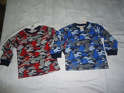 NWT Lot Of 2 Long Sleeve Gymboree Baby Boys Blue Red Camo Shirts Size 18- 24M