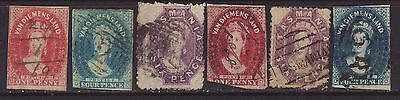 Tasmania Queen Victoria group of 6 imperfs and perforated used.