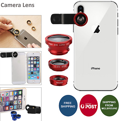 3 in 1 Camera Lens Packs For iPhone,Samsung Fish Eye,Wide Angle,Macro With Clips