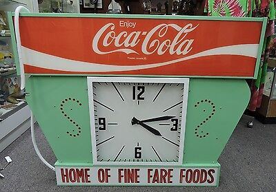 Vintage Coca Cola Advertisement Sign Electric Lighted Clock Works, Large RARE