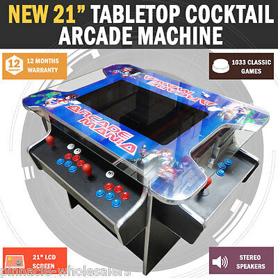 "NEW 21.5"" Arcade Machine Tabletop Upright Cocktail Video Game With 1033 Games"