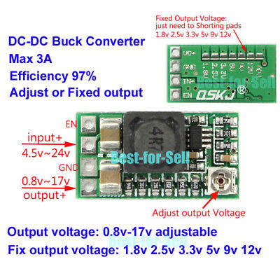 DC-DC Buck Converter Adjustable Mini Step Down Module 1.5V 3V 3.3V 5V 9V 12V 3A