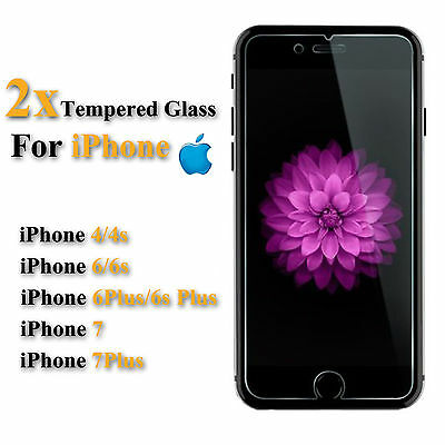 2X Scratch Resist Tempered Glass Screen Protector film for iphone 7 plus 6 6s 4