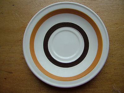 Carrigaline Pottery saucer off white, caramel & brown stripe149mm