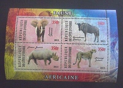 Ivory Coast-2013-African Animals Minisheet-MNH