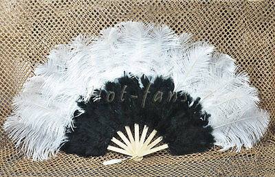 "primary Burlesque 21""x 38"" B mix WHITE Marabou Ostrich Feather fan"