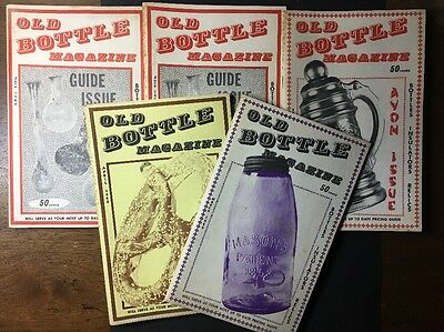 """1969 LOT OF 5 VINTAGE """"OLD BOTTLE MAGAZINES"""" GUIDE Photos History Research COST"""