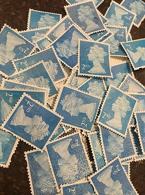 500 X 2nd Class Unfranked Stamps - Off Paper - No Gum - FV £275 - Free Postage