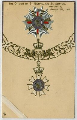 The Order Of St. Michael And St. George Vintage Embossed Postcard