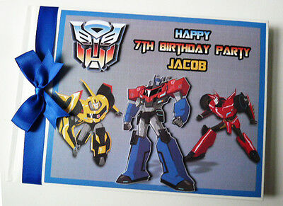 Personalised Transformers Boy First/1St Birthday Guest Book Any Design