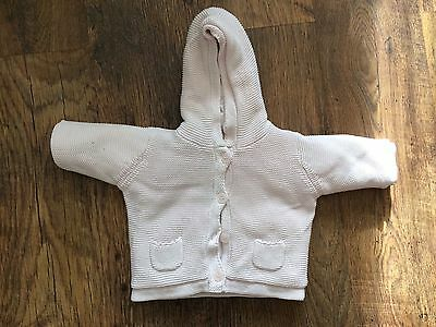 Girls 3-6 Months Padded Knitted Jacket Jumper With Hood Pink Next