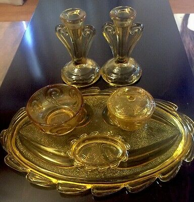 Vintage 1950's  Gold Pressed Glass Vanity Set With Tray