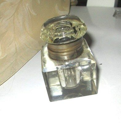 Collectable Victorian Heavy GLASS Inkwell with Silver Collar and Hinged Lid