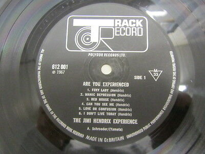 Jimi Hendrix Are You Experienced Lp Uk 1St Mono A1/b1 Ex-/vg-