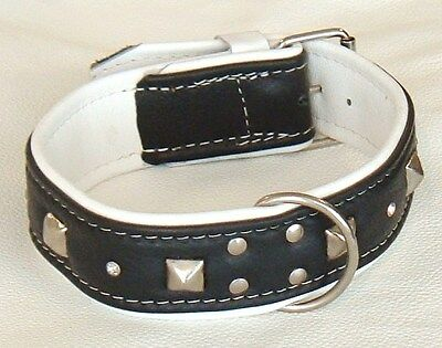 Black and White leather dog collar With studs and Diamantes
