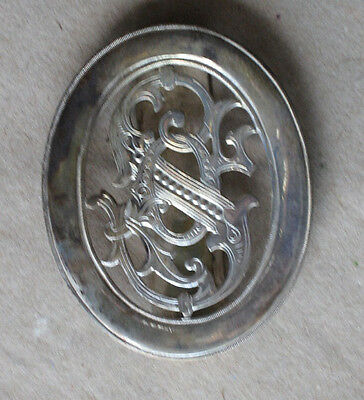 RARE ANTIQUE SILVERED CZECHOSLOVAK SOKOL BELT BUCKLE / 1910s