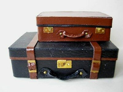 KIT 1/12th scale Leather TRUNK & SUITCASE - vintage luggage case bag HB
