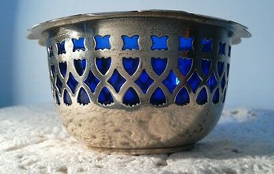 SILVER PLATED SUGAR BOWL WITH BLUE GLASS INSERT pierced frieze, epns
