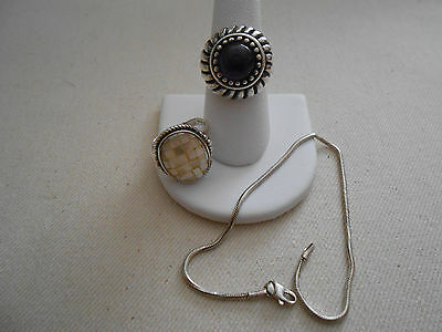 Sterling Silver Lot of Two Rings and Bracelet    494722