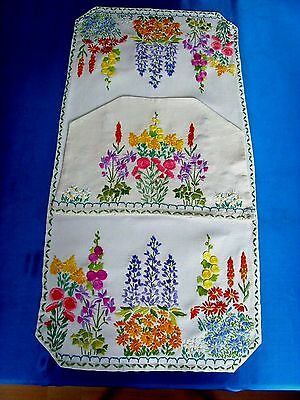 Exquisite Vintage Hand Embroidered Tablecloth & Tea Cosy Cottage Garden Flowers
