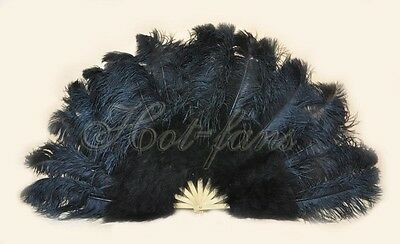 "Black 27"" x 53""  Marabou & Ostrich feathers fan With carrying case"
