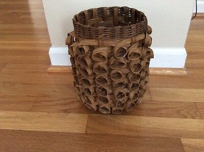 vintage signed hand woven tall basket with curls 1985