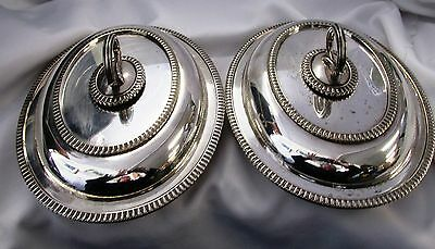 Matching pair of silver plated serving tureen with key handles