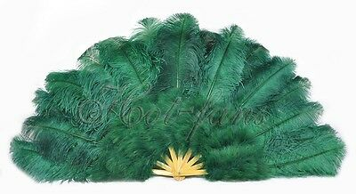 "forest green 27"" x 53""  Marabou & Ostrich feathers fan With carrying case"