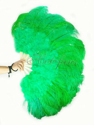 "Emerald green 27"" x 53""  Marabou & Ostrich feathers fan With carrying case"